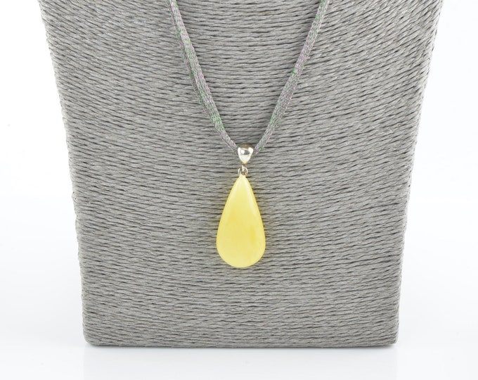 Amber pendant, Baltic amber pendant with sterling, Natural amber, 7759