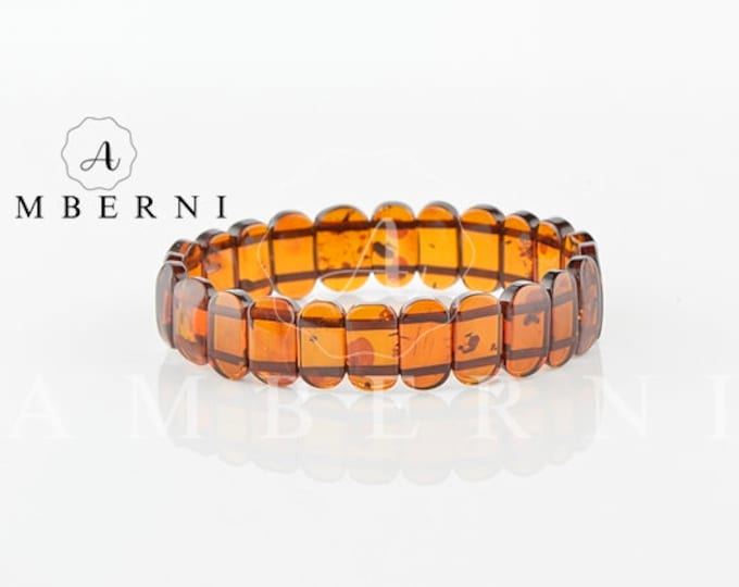 Baltic Amber Bracelet - Natural Amber - Cherry Color