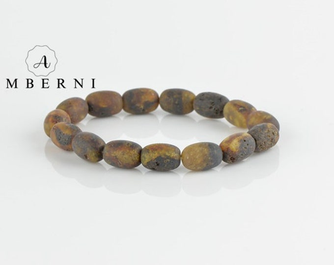 Tube Raw Amber Beads Bracelet