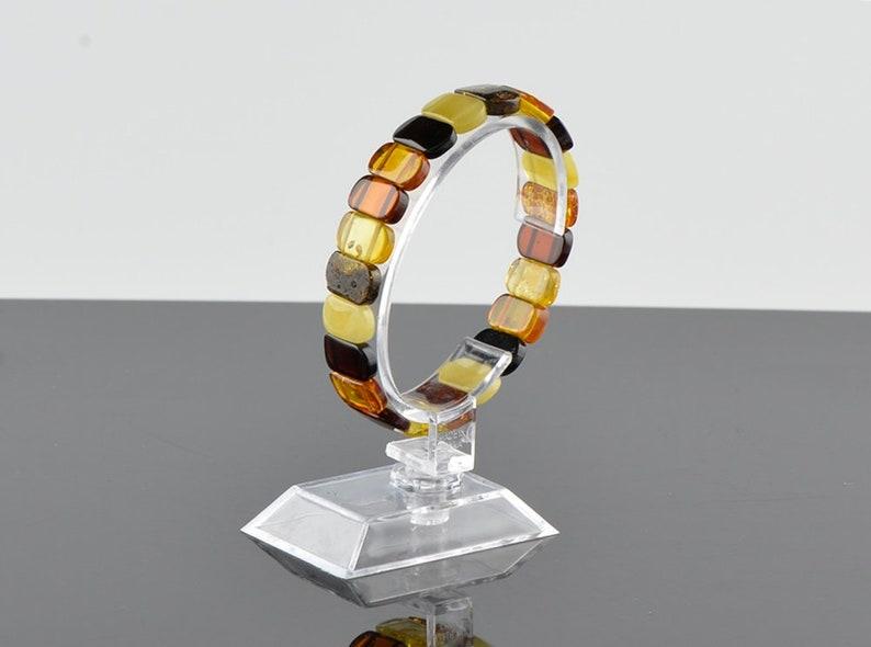 Multicolor Baltic Amber Bracelet Polished Beads