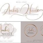 Pre-made Logo Watermark Design Business Branding Kit Gold Customized For Your Business + Custom Business Card Template