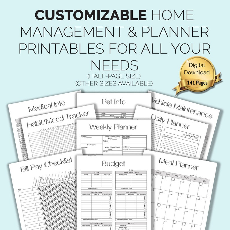 image relating to Life Binder Printables named CUSTOMIZABLE Household Manage Binder/Planner Printables (50 %-Website page Dimensions 5.5x8.5\