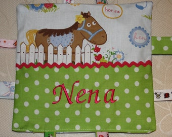 Baby crackling cloth with wish names farm animals | Etsy