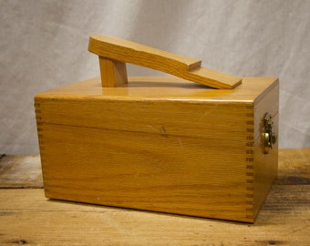 ad34e99abf0 Vintage Wood Shoe Shine Valet Box with Foot Stand with Brush   Polish