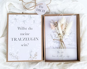 Gift box BOHO large with dried flower bouquet white cream Do you want to be my maid of maid of man