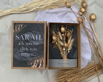 Gift box GOLD large with dried flower bouquet Do you want to be my maid of trau personalized