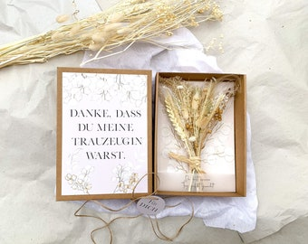 Gift box BOHO big with dried flower bouquet white cream THANK YOU for being my maid of maid of man