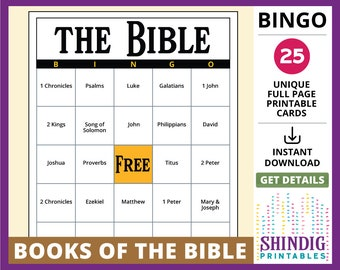 image about Free Printable Bible Bingo Cards titled Christian training Etsy