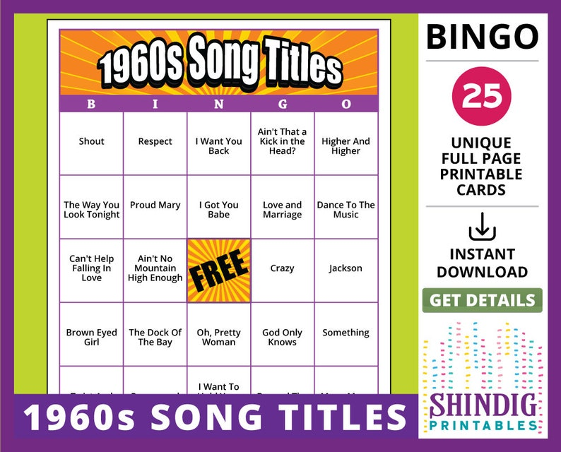 Bingo Card Game: 1960s Song Titles! Sixties Retro, Senior Adult Memories,  and Classic Rock Birthday Parties! (25 Cards)