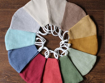 New Colours! Premium Quality Handmade Linen Face Masks - Breathable Soft Fabric in fashionable colours - popular pandemic style - gift