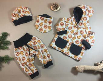 Reversible jacket, baby pants, cloth and beanie, single, in combination or in the whole debut set, size 62/68