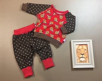 Baby long sleeve shirt and pants, single or in set, lion size 62
