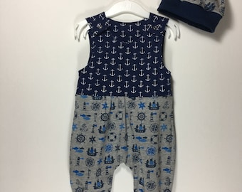 Romper and cap, single or as first set, gr.68