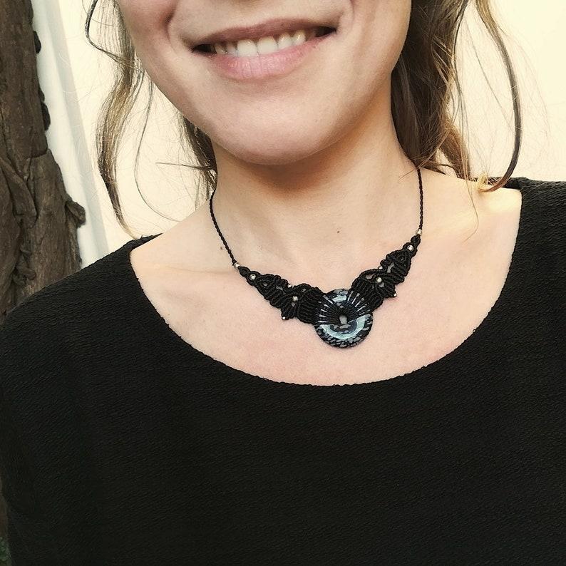 macrame disc stone nickel free ethnic necklace SNOWFLAKE OBSIDIAN natural stone celtic boho necklace