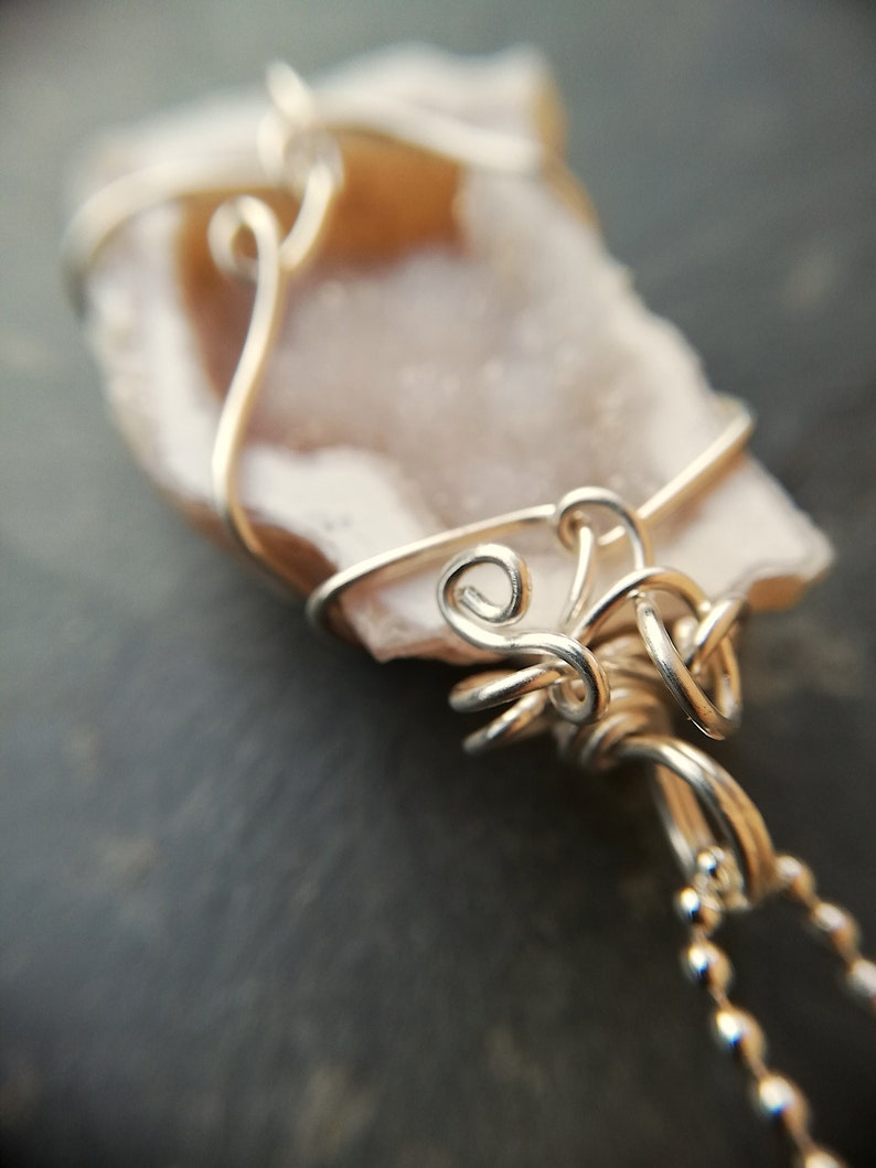 crystal necklace special gift wire wrapping calming AGATE necklace sterling silver agate geode natural jewelry natural stone