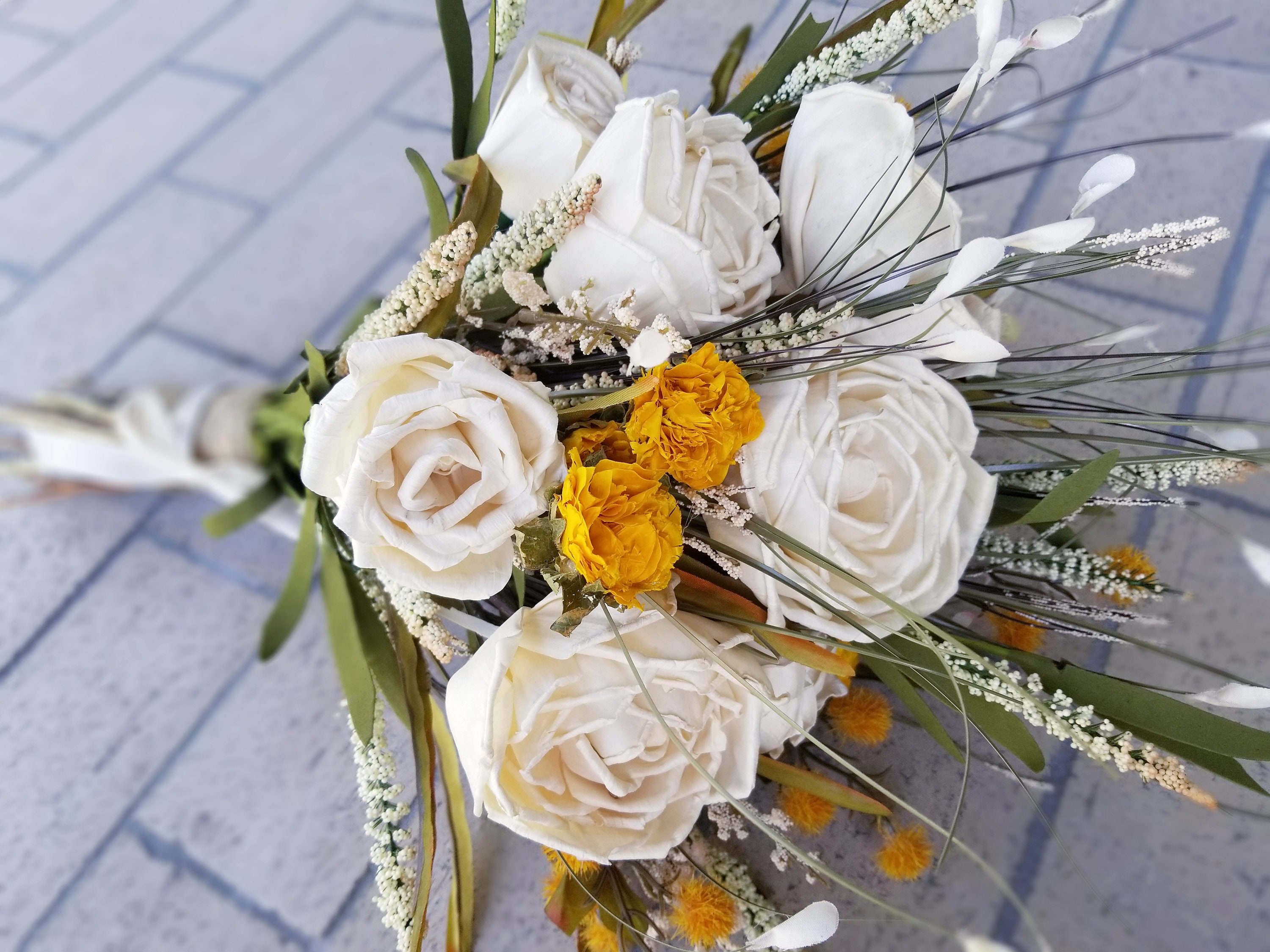 Fall Boho Bouquet Hand Tied Loose Bouquet Featuring Ivory Sola