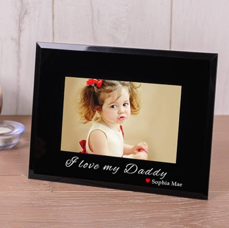 Stylish Modern Father/'s DayMother/'s Day Personalised DadMom Black Glass Picture Photo Frame DaddyMummy Gift Present New
