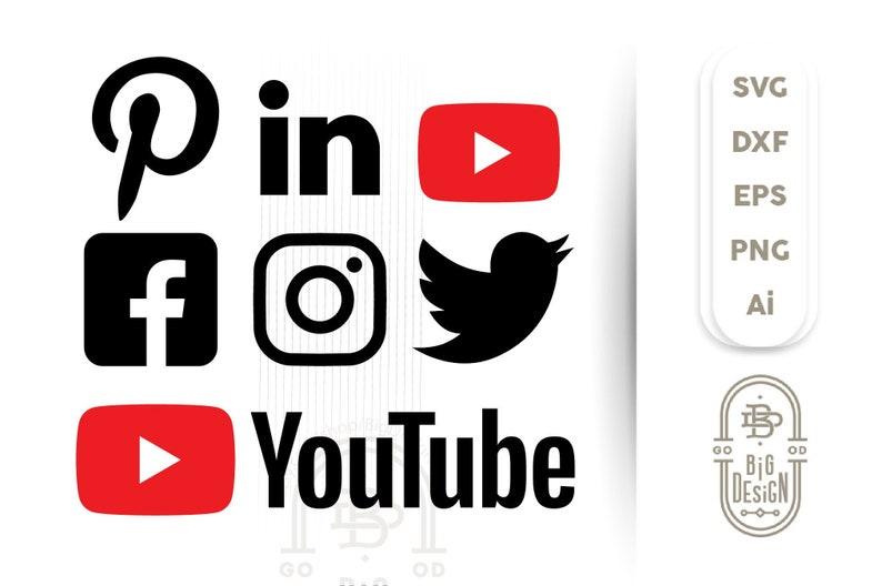 Social Media Svg Files Social Icons Svg Facebook Svg Youtube Svg Twitter Svg Instagram Svg Pinterest Svg Linkedin Svg Ai Eps Png Dxf