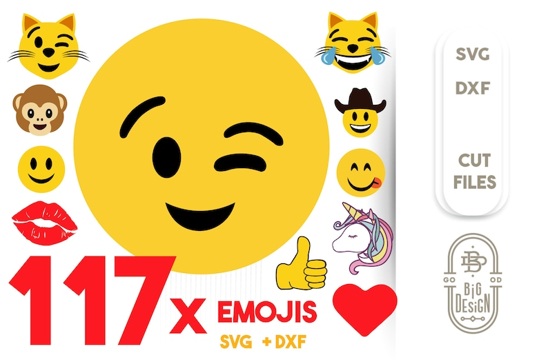 picture about Printable Emojis Faces named 117 Emoji SVG - Emoji Package: Smiley Faces, Unicorn, Such as, Cats, Monkeys, Hearth, Centre, and so forth Emojis Svg Slash Information,Printable Emoji , Svg + DXF