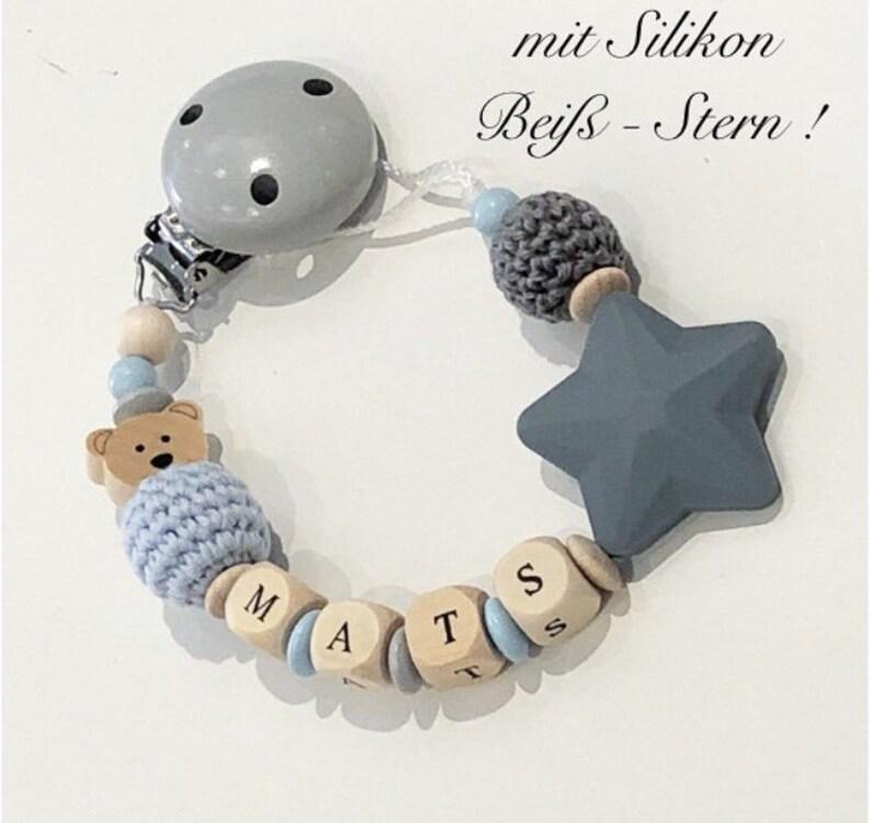 Schnullerkette Stern sand//grau mit Namen