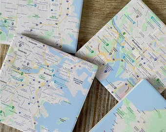 Each 4 Square Set of 4 Custom Map Coasters