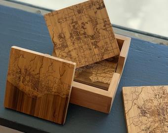 Map Coasters, Custom Map Coasters, Square Map Coasters, Coasters with holder, Gift ideas, Map gifts, Custom city coaster, Coaster set