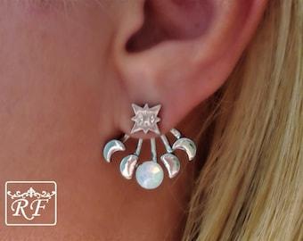 Moon Phases Ear Stud, ear jackets, moon, moon earrings, gold, moonstone earrings, Opal stone, Waxing Moon, Moon Phases, opal, climbers,