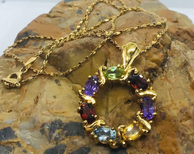Vintage Circlet Pendant of Gemstones on Diamond cut Chain