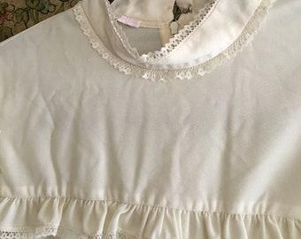 86f4ba6704e Plus size vintage dress ivory ruffles black velvet skirt Victorian collar  elastic wrist lace