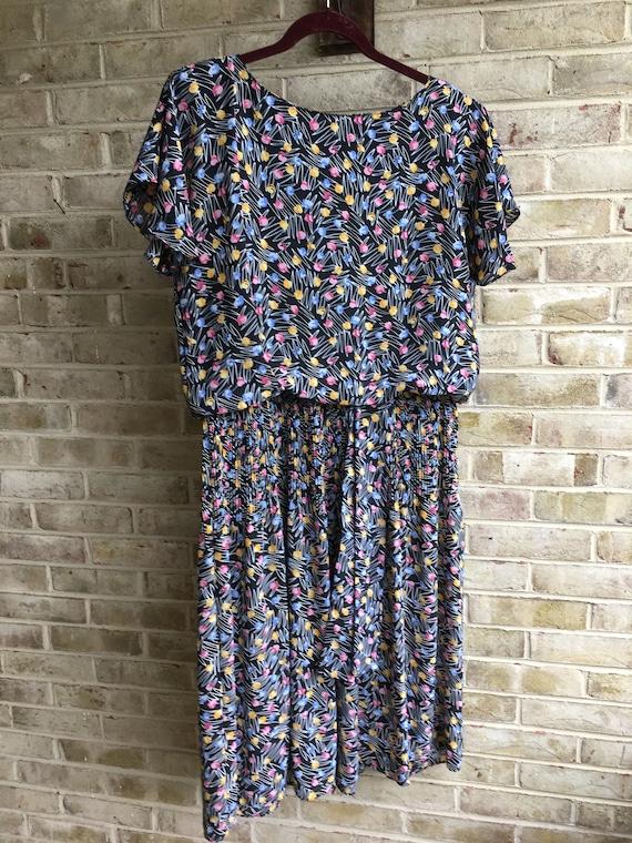 CONFETTI PRINT day DRESS 1980/'s 80/'s S M A12