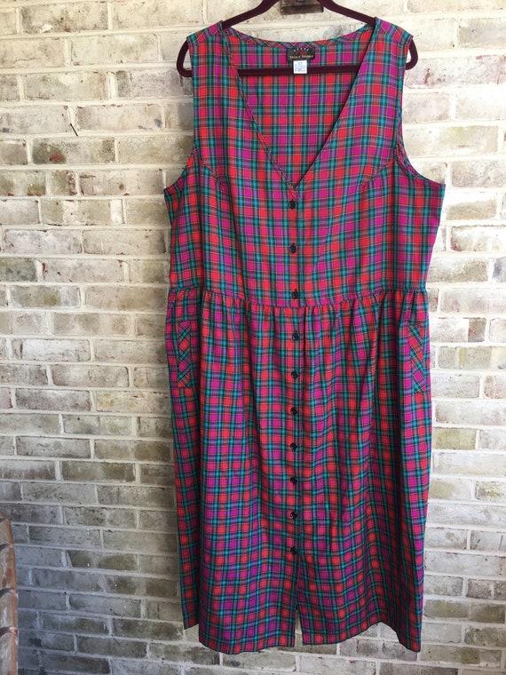 Plus size vintage dress pinafore plaid hot pink ra