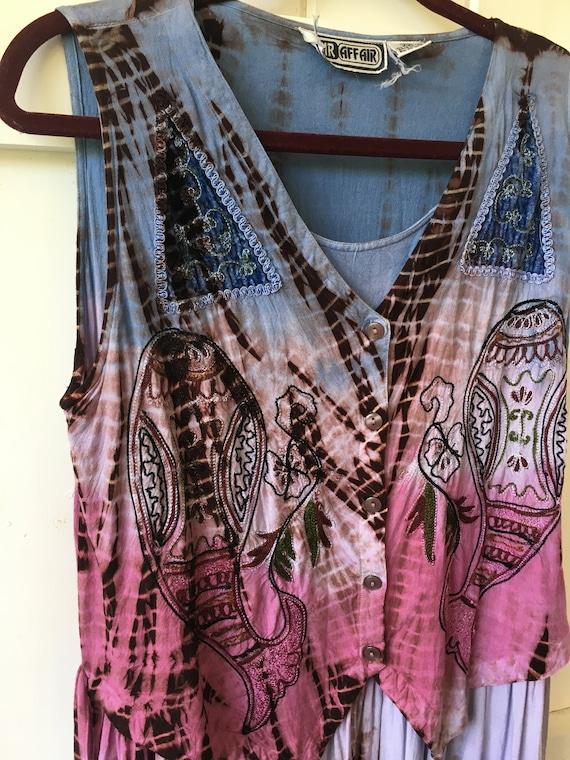 Plus size vintage dress tie dye Stevie Nicks xl ra