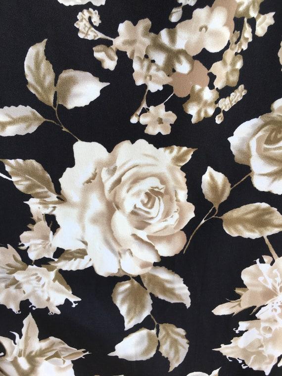 Plus size vintage dress size 18 20 xl 1x 2x R/&K original grunge or romantic zips up back side button detail rose floral