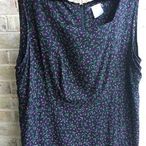 Plus size vintage dress boho bohemian grunge tank violets purple on black 1990 90s rayon size 16 18 xl 1x 2x