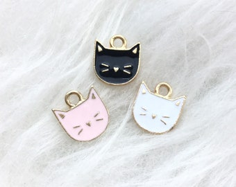 5 x Rose Gold And Enamel Black Cat Charms Pendants 22mm x 11mm