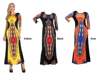 Ankle Length Dashiki Dress with 3 4 sleeves Sexy Women Ankle Length Dashiki  Dress African Print Dress African Dresses For Women - 6 Colors 3685fc720d6c