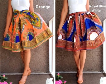 Ankara Skirt Dashiki Print  Authentic African Wax High Waist Pleated Maxi Skirt