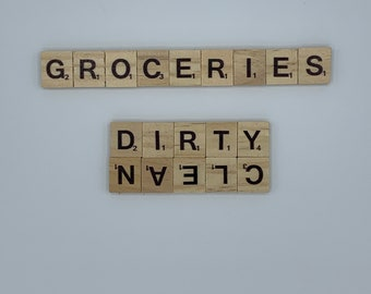 Kitchen set of 2 scrabble tile magnetic signs   clean + dirty dishwasher magnet   groceries fridge magnet