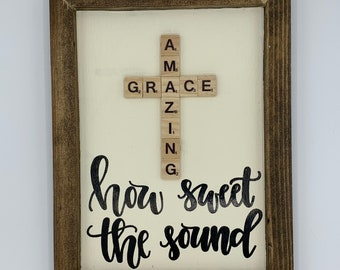 Amazing Grace how sweet the sound   hand lettered wood sign   scrabble tile sign   rustic Christian sign