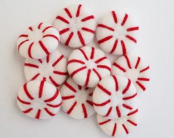 Peppermint Felt Balls - Christmas Felt Balls - Christmas Felt Accessories - Christmas Felt Ball Garland - Peppermint Felt Poms - Christmas