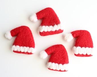 Santa Hat Felt Ball Ornament - Christmas Felt Balls - Santa Felt Accessories - Christmas Felt Ball Garland - Felt Poms - Christmas Santa Hat