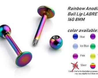 Rainbow Anodizes Ball Lip LABRET BAR 16G 8MM-- buy 1 get free gift