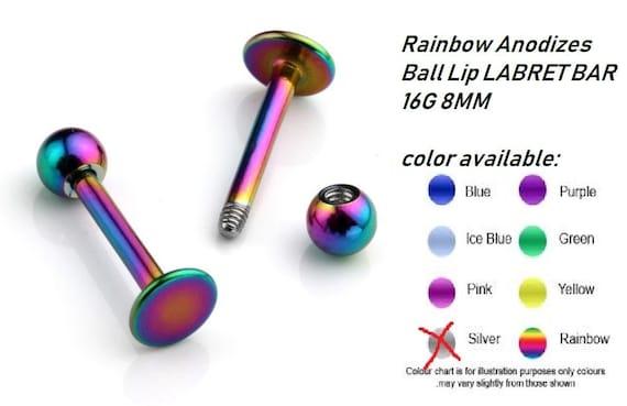 Titanium labret monroe lip bar with ball 8mm