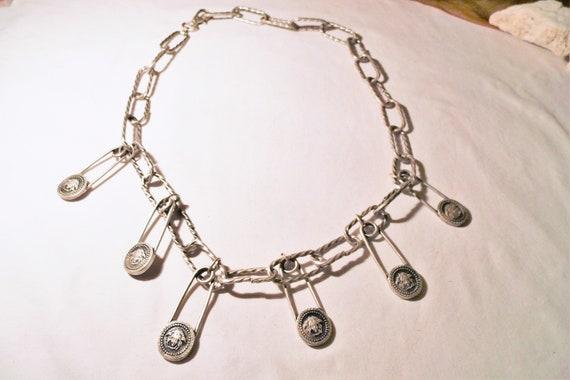 Vintage metal belt safety pins,chain belt with pen