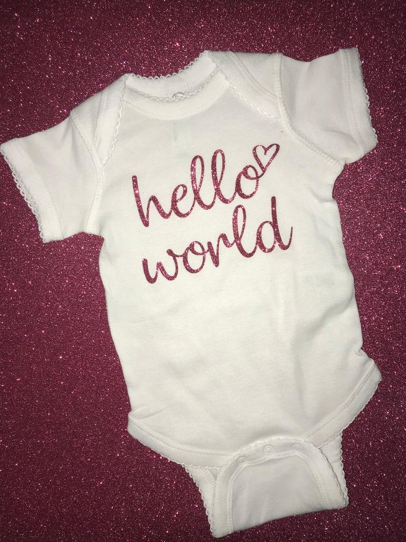 Pink Glitter Hello World Bodysuit Baby Shower Gift Baby Announcement Baby Bodysuit