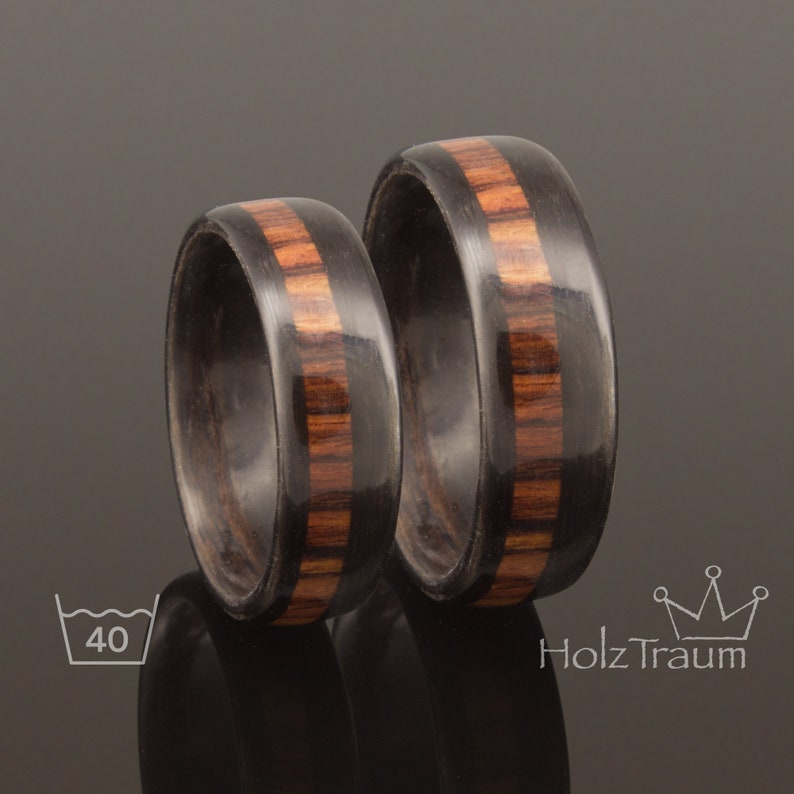 Black noble silk with rosewood inlay  bentwood ring couple Paar Luxus
