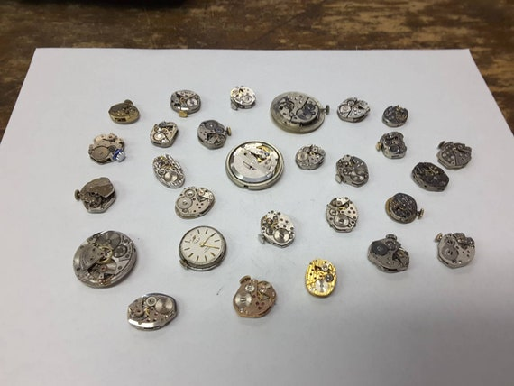 28 vintage windup watch movement, steampunk parts