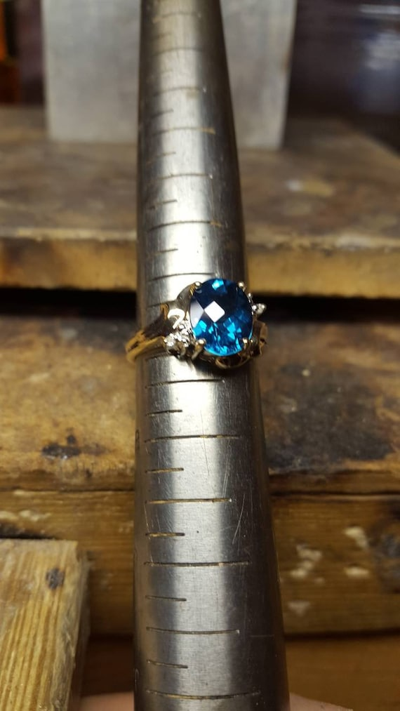 10k or 14k Gold Heart Shaped Simulated Blue Zircon December Birthstone Ring