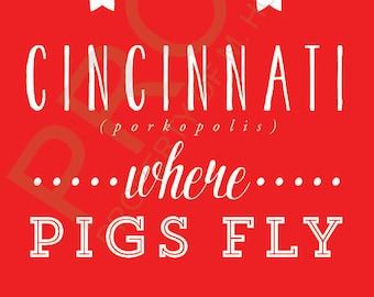 Where Pigs Fly Cincinnati, Ohio Postcard