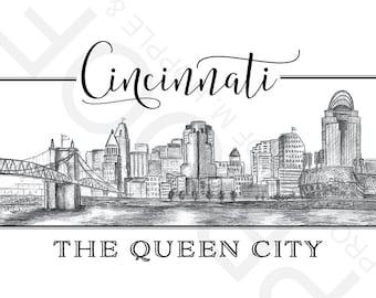 Cincinnati, Ohio Sketched Skyline Art Print